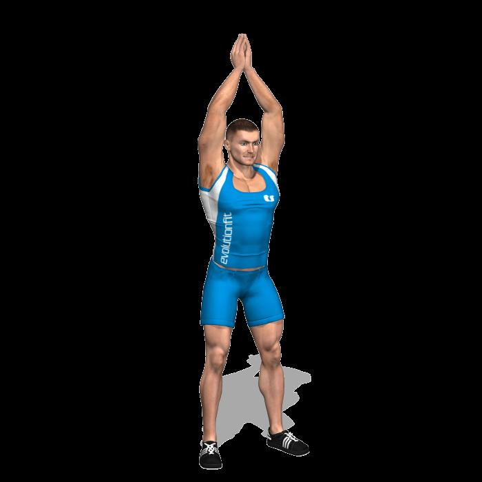 allenamento quadricipiti overhead squat a corpo libero inizio