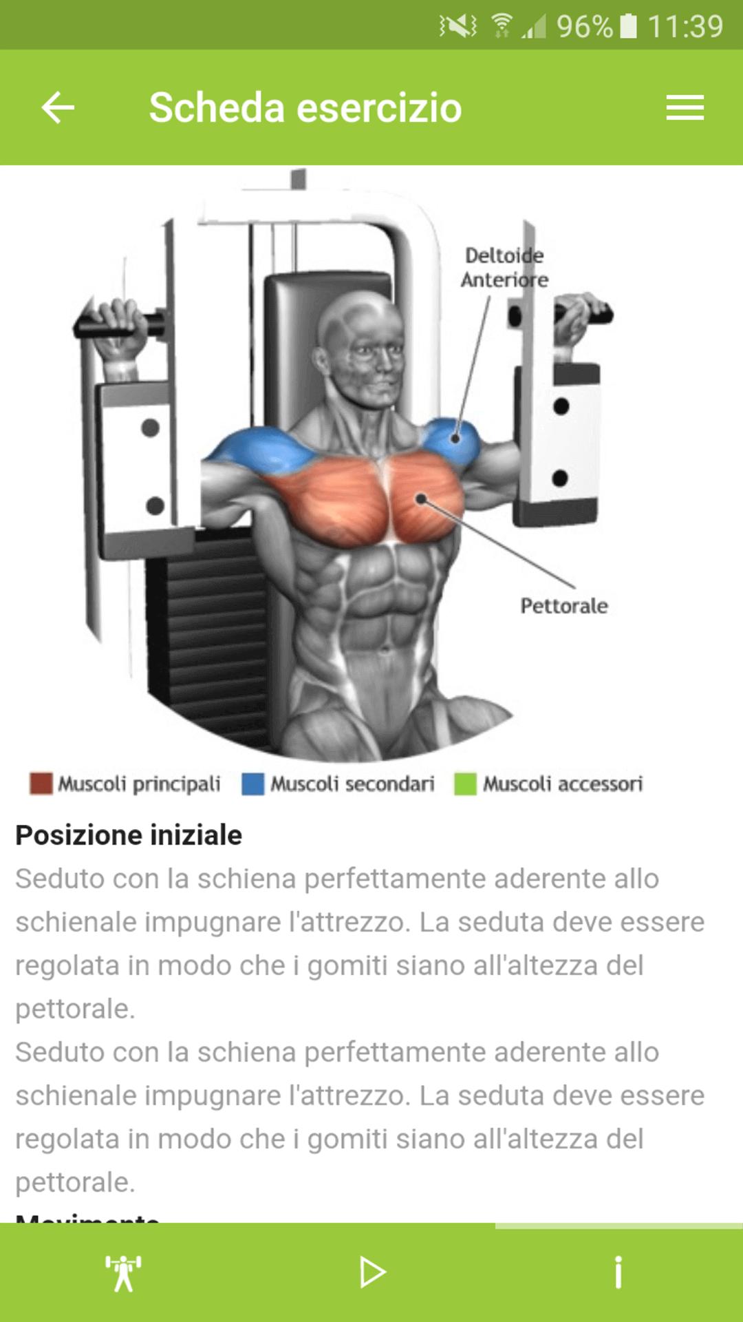 Screenshot istruzioni esercizio app