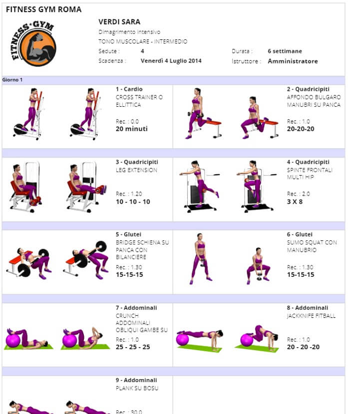 Stampa scheda allenamento versione donna