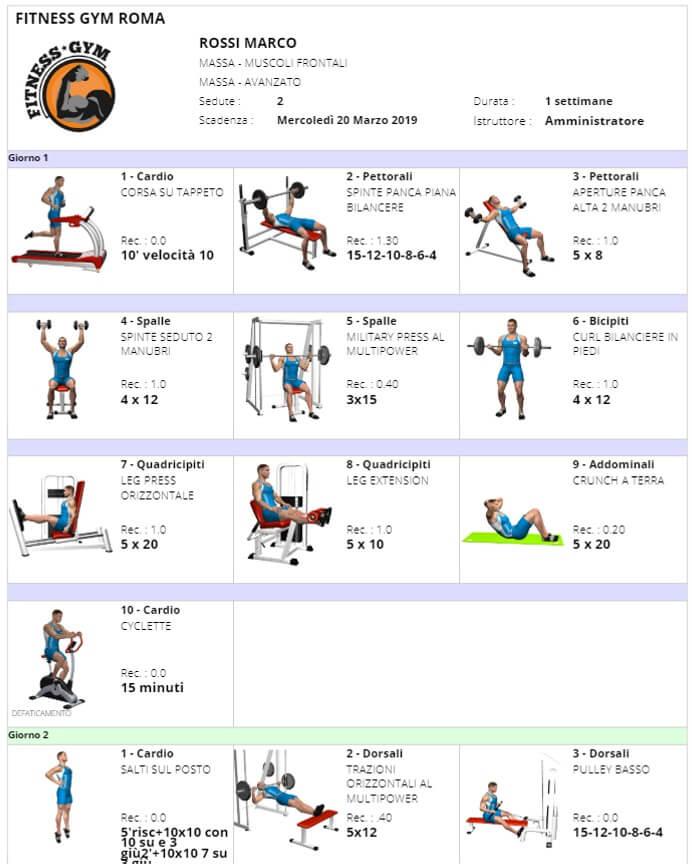 Stampa scheda allenamento-immagine-singola
