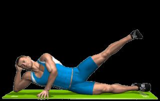 allenamento abduttori alzate gamba su fianco a terra fine