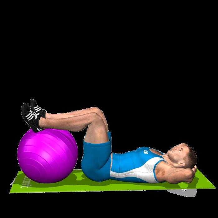 allenamento addominali crunch gambe su fitball inizio