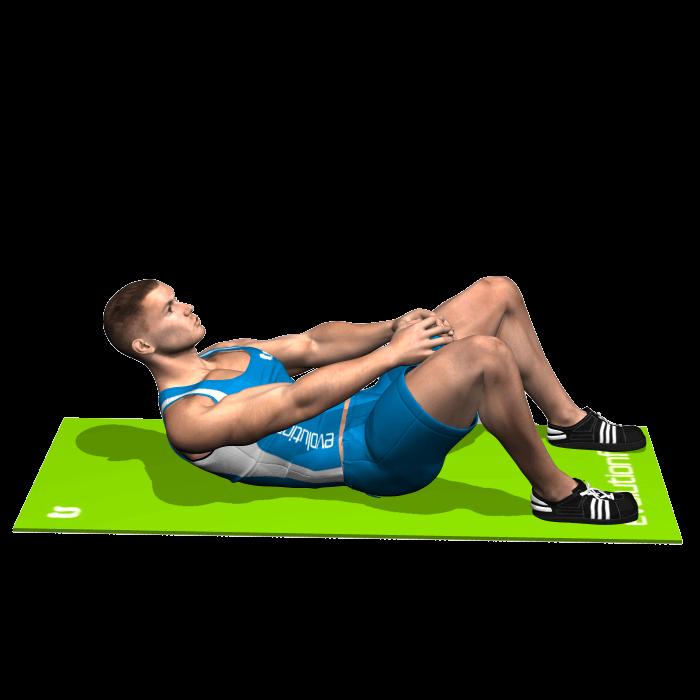 allenamento addominali crunch mani avanti fine
