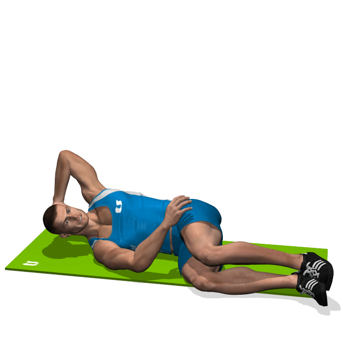 allenamento addominali crunch obliqui da sdraiato inizio