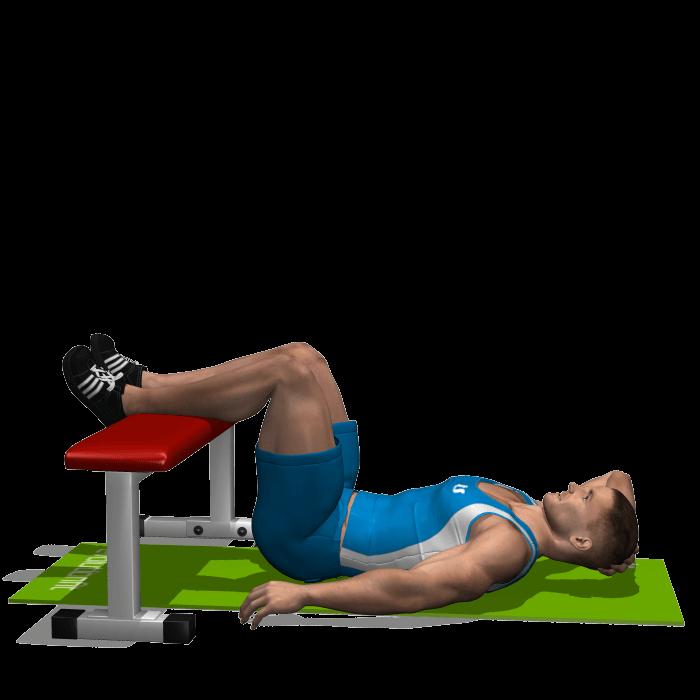 allenamento addominali crunch obliqui a terra gambe su panca inizio