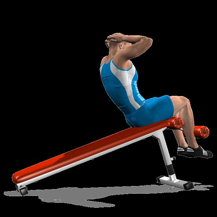 allenamento addominali crunch panca bassa fine