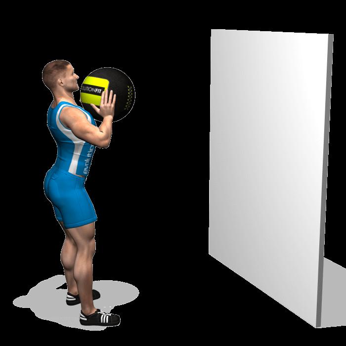 allenamento addominali lancio wallball in avanti inizio