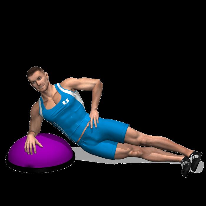 allenamento addominali side plank su bosu inizio