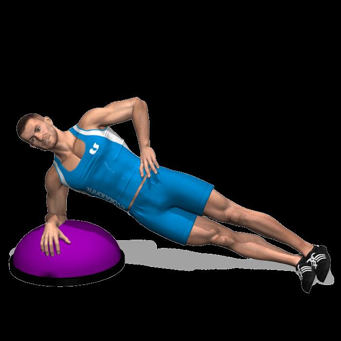 allenamento addominali side plank su bosu fine