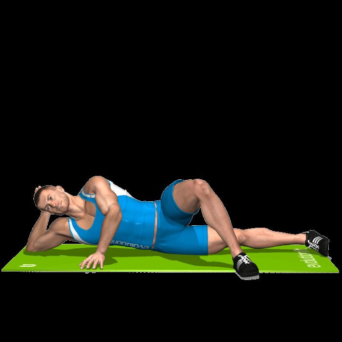 allenamento adduttori spinte gamba interna sdraiato inizio