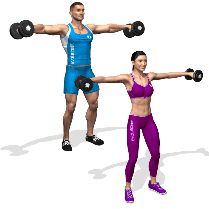 Esempio alzate laterali in versione uomo e donna