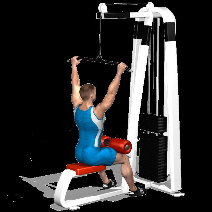 allenamento dorsali lat machine avanti inizio
