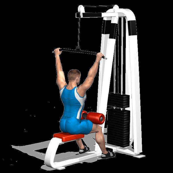 allenamento dorsali lat machine dietro inizio