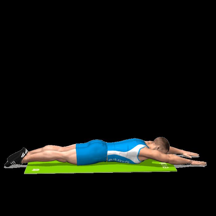 allenamento dorsali lombari a terra inizio
