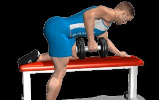 allenamento dorsali rematore manubrio su panca fine