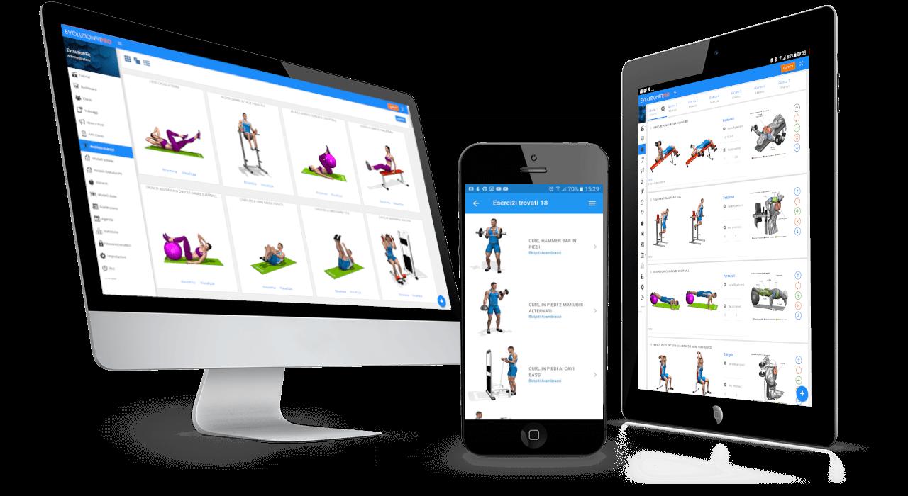 Pc e tablet e smartphone con esercizi allenamento evolutionfit
