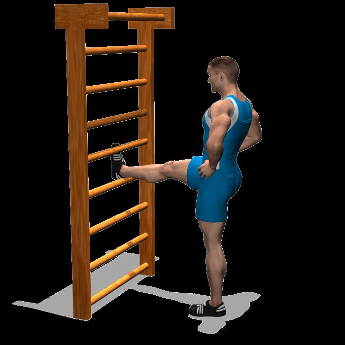 allenamento stretching flessione anca con gamba distesa su supporto inizio