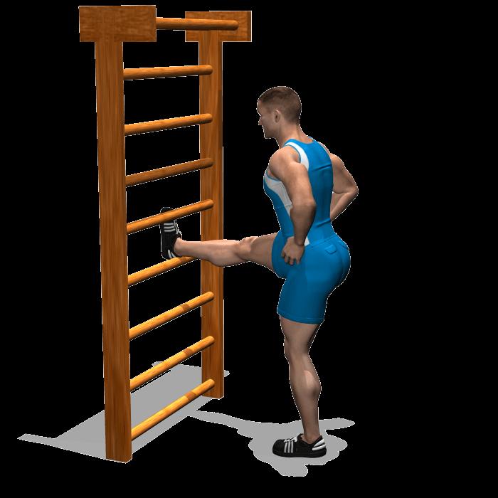 allenamento stretching flessione anca con gamba distesa su supporto fine