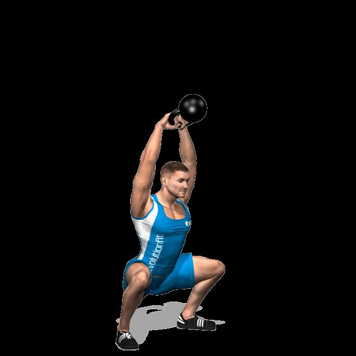 allenamento total body american swing e squat con kettlebell a due mani fine