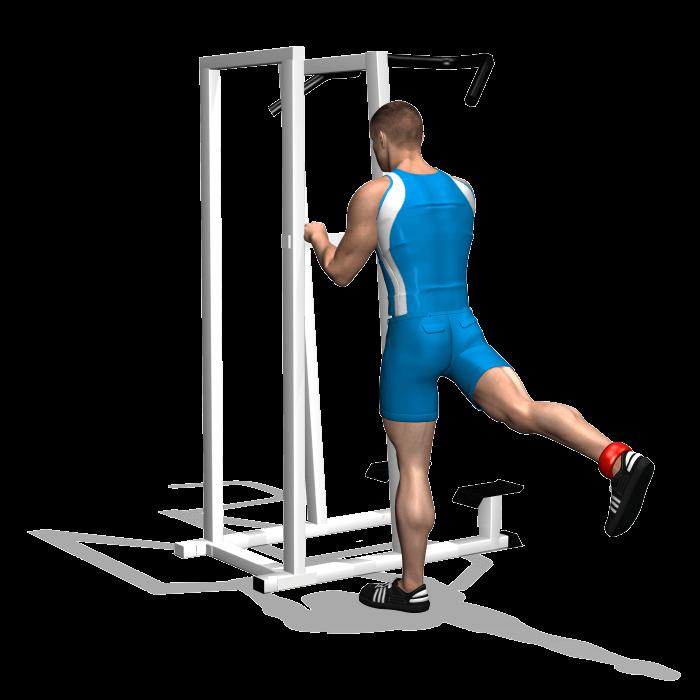allenamento glutei slanci gamba posteriori in piedi fine