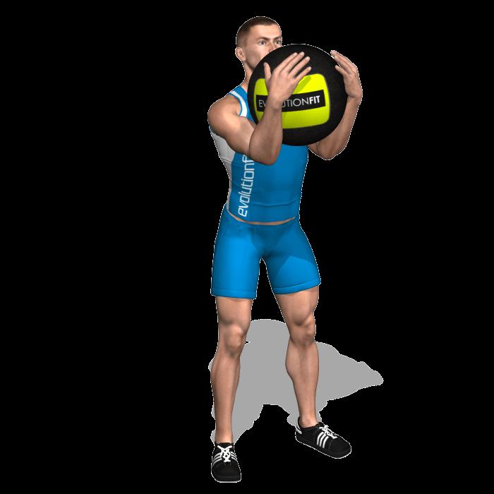 allenamento quadricipiti goblet squat wallball inizio