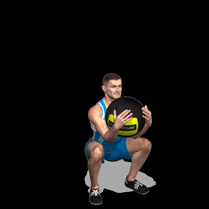 allenamento quadricipiti goblet squat wallball fine