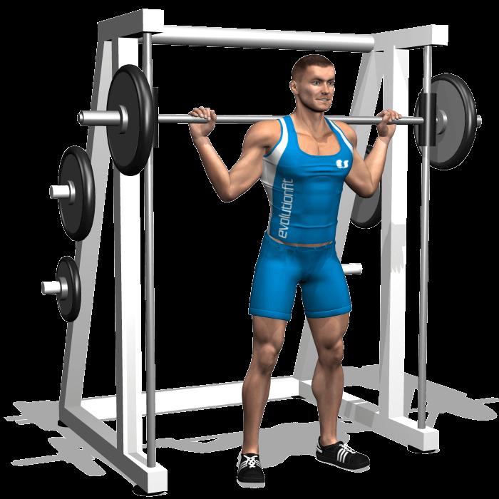 allenamento quadricipiti squat multipower inizio
