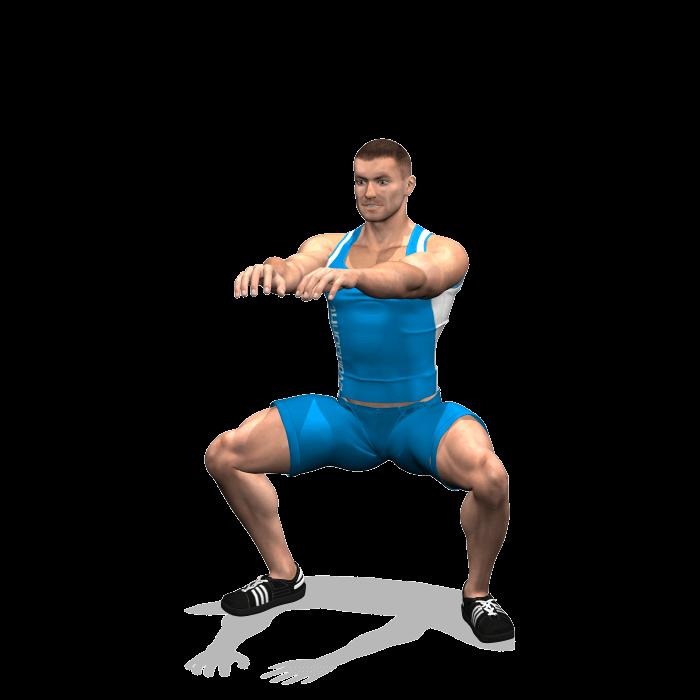 allenamento quadricipiti squat sumo corpo libero fine