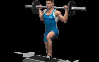allenamento quadricipiti step up bilanciere inizio