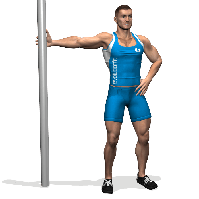 allenamento stretching rotazione tronco con braccio in estensione inizio