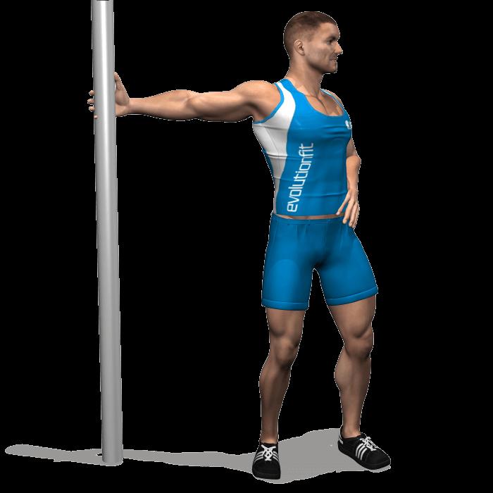 allenamento stretching rotazione tronco con braccio in estensione fine