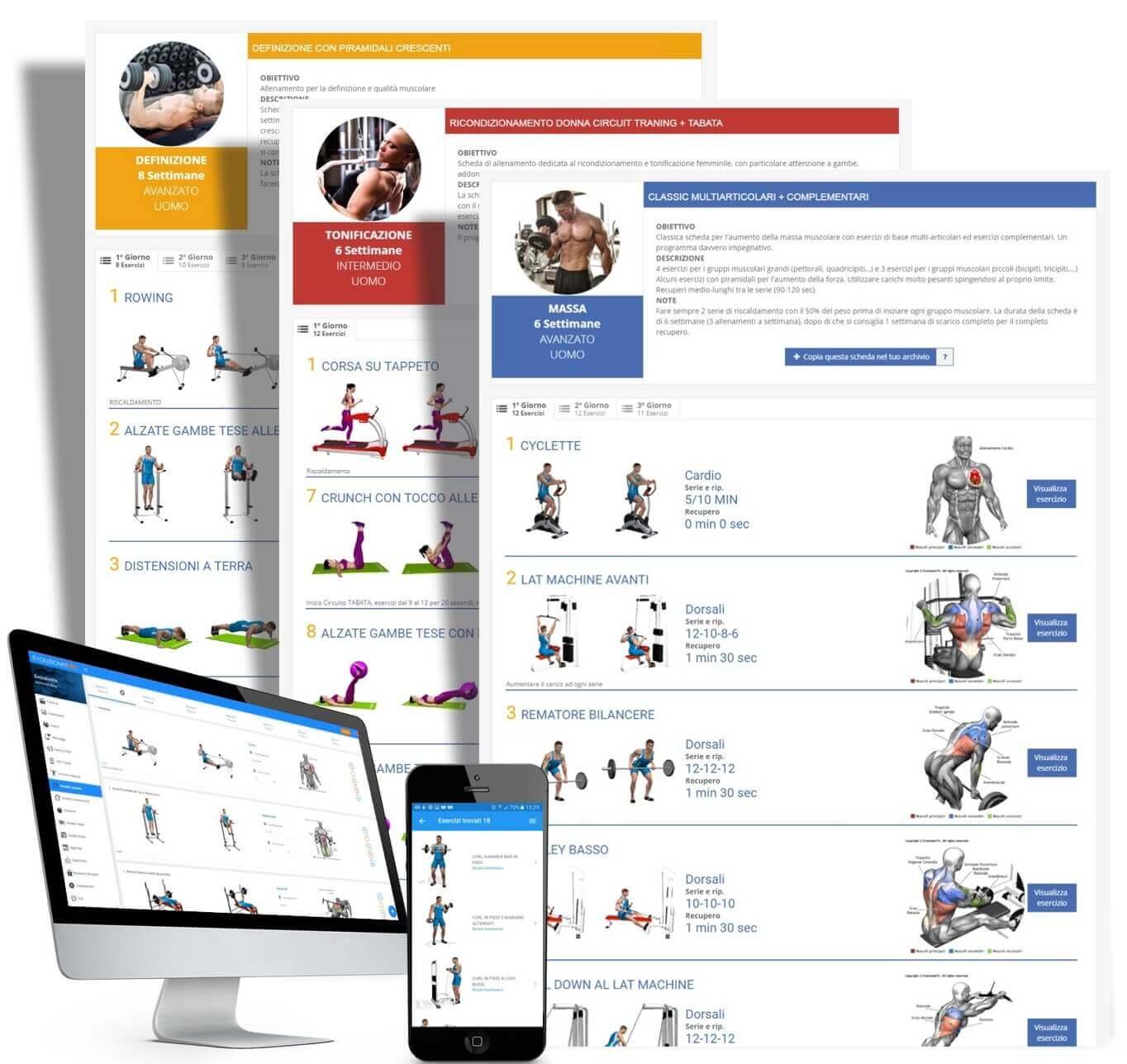 Schede allenamento app mobile e computer