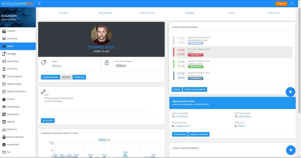 Screenshot appuntamenti anagrafica cliente