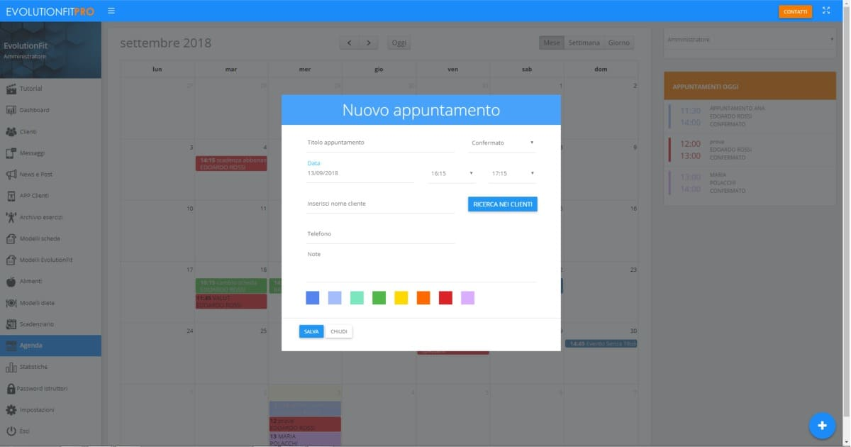 Screenshot inserimento nuovo appuntamento