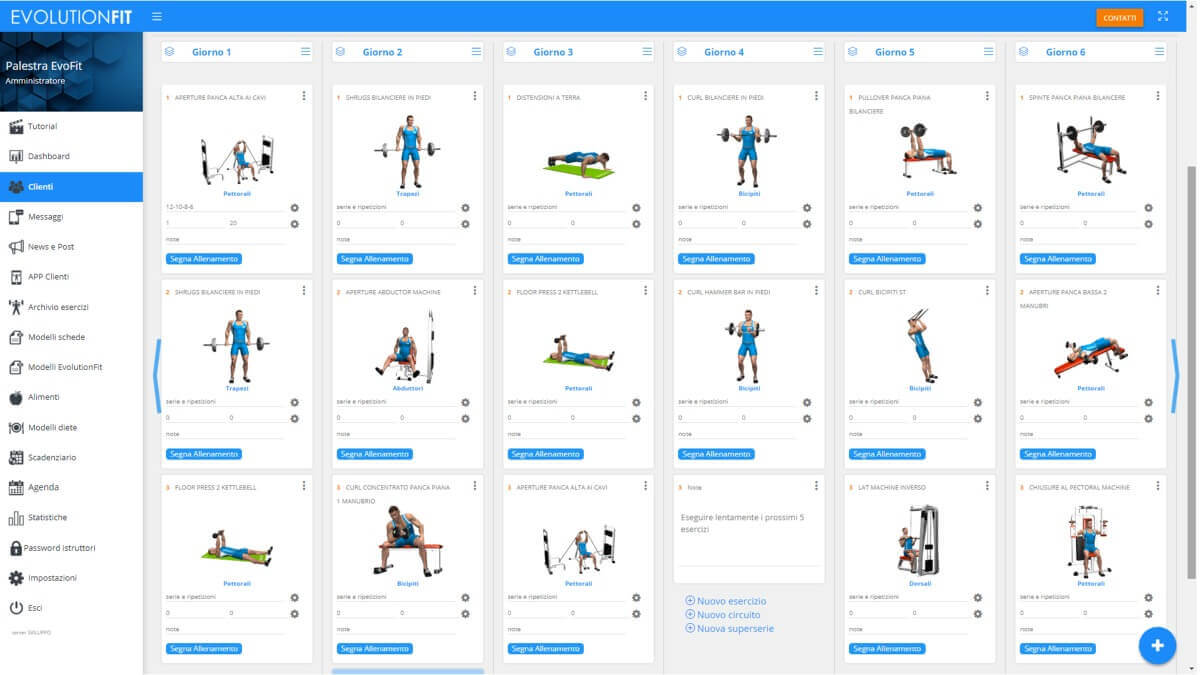 Screenshot con programma allenamento