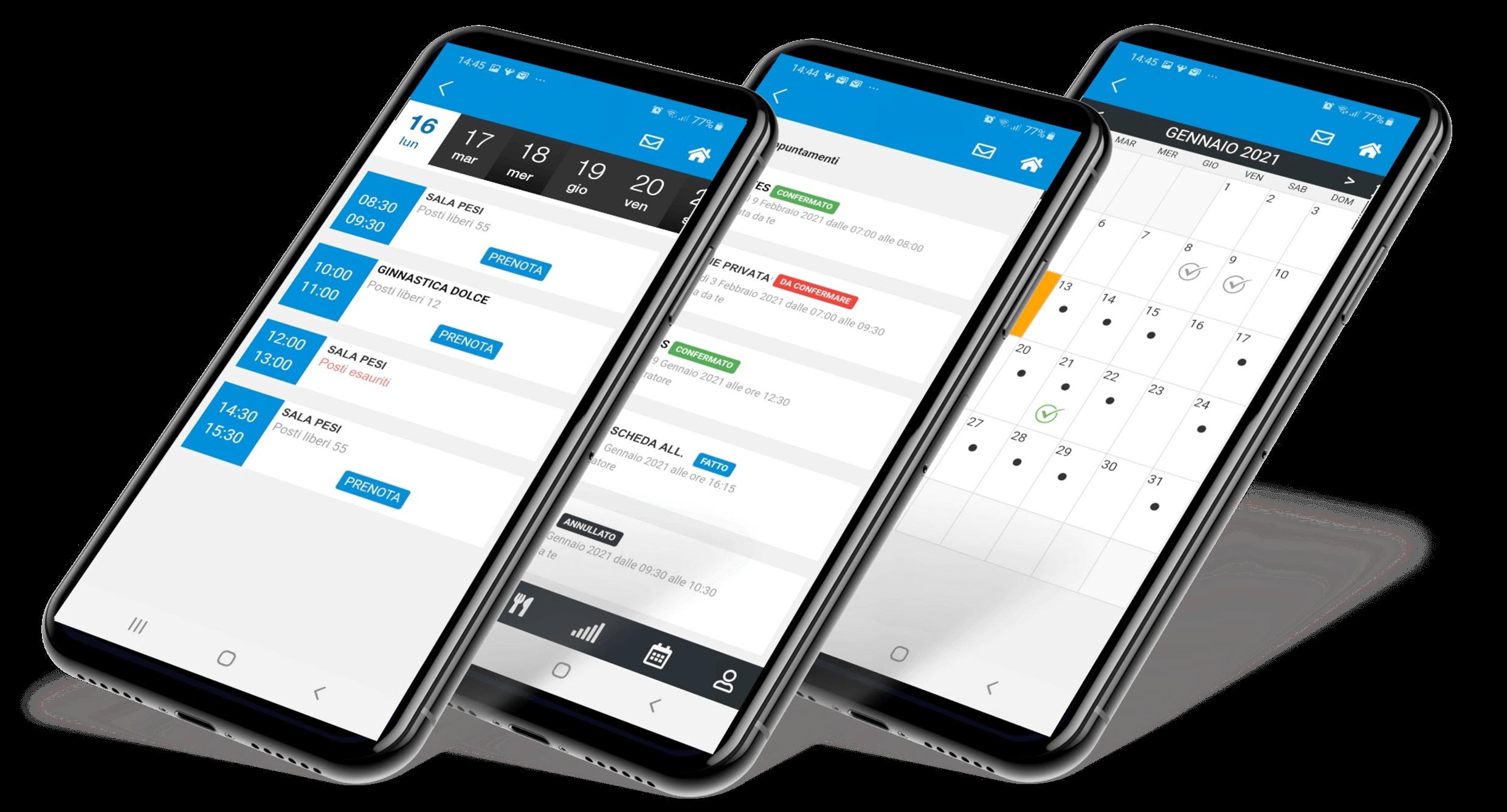 smartphone app prenotazione palestra sala pesi