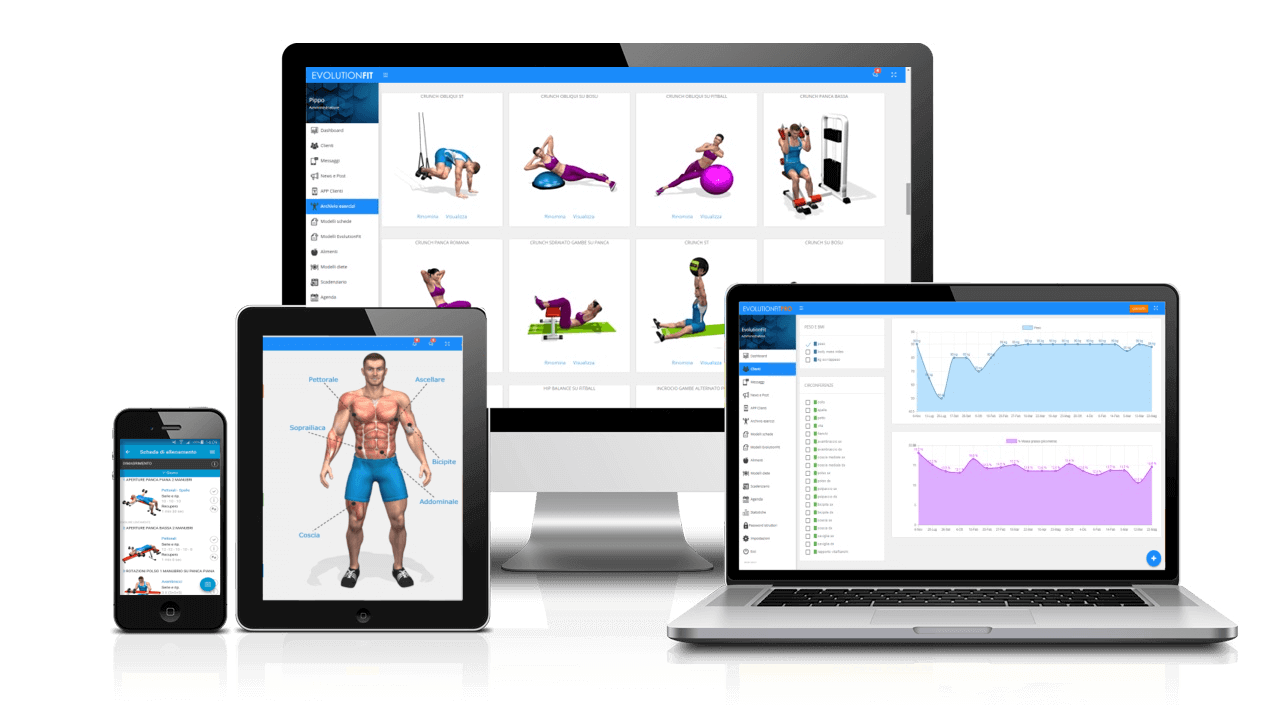 software palestra e personal trainer responsive pc e tablet