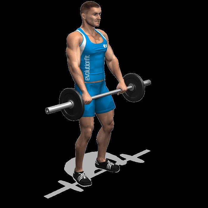 allenamento spalle alzate frontali bilanciere inizio