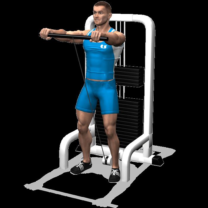 allenamento spalle alzate frontali cavi fine