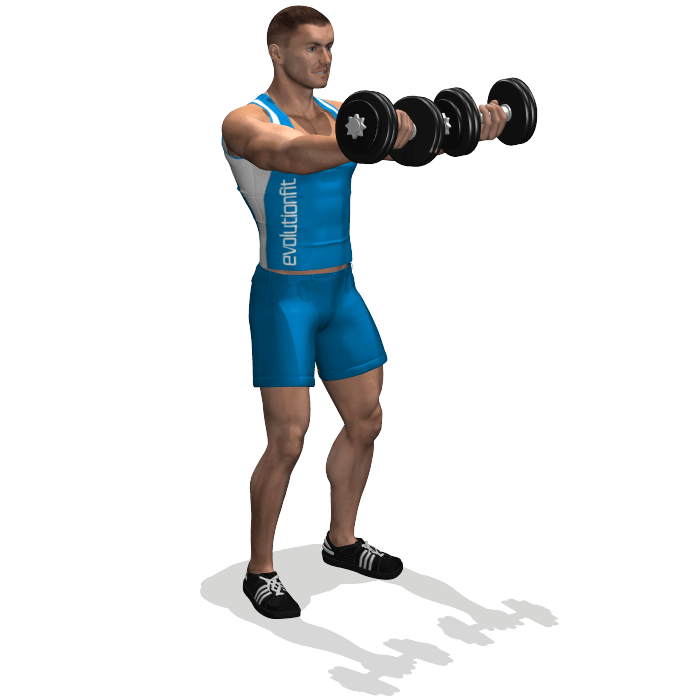 allenamento spalle alzate frontali manubri presa inversa fine