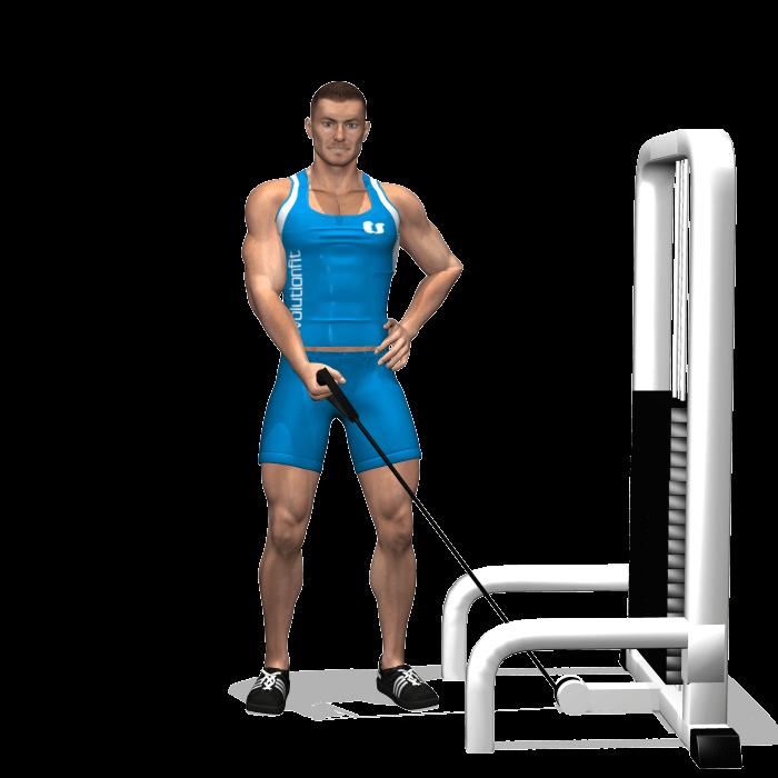 allenamento spalle alzate laterali singolo cavo inizio