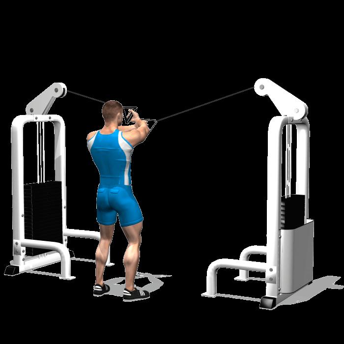 allenamento spalle crossover cavi alti inizio