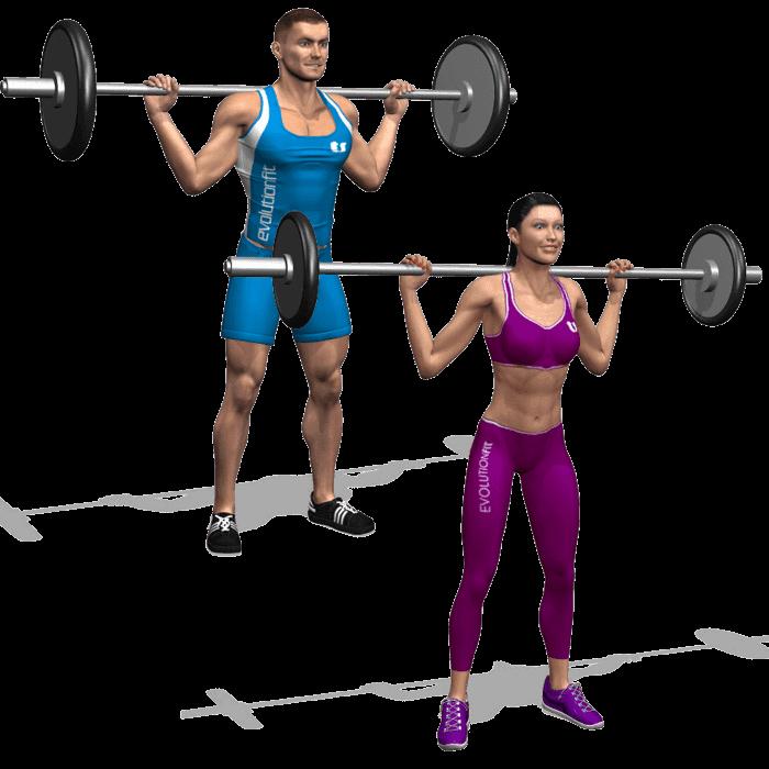 Esempio squat bilanciere in versione uomo e donna