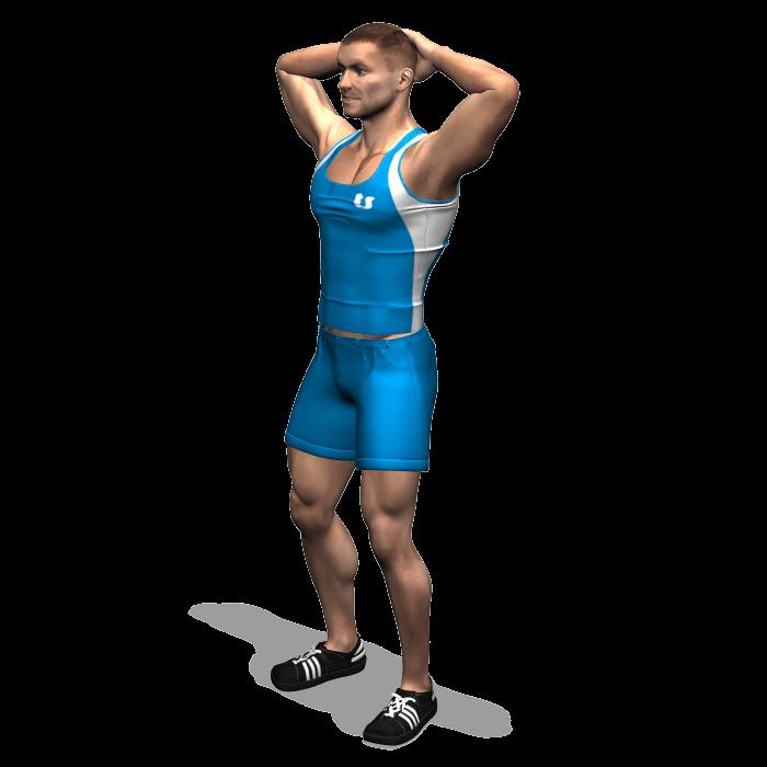 allenamento stretching allungamento collo posteriore in piedi 2 mani inizio