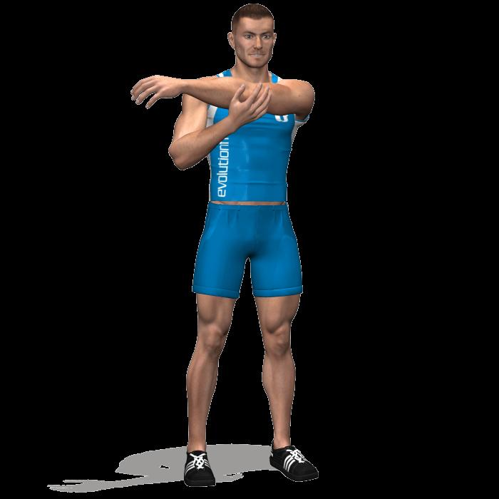 allenamento stretching-allungamento deltoide braccio teso avanti inizio
