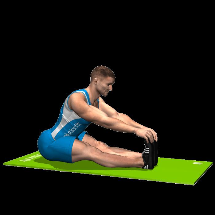 allenamento stretching flessione anca da seduti gambe tese inizio
