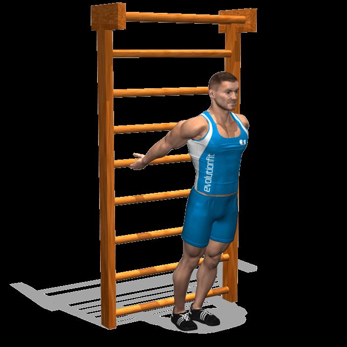 allenamento stretching allungamento alla spalliera inizio