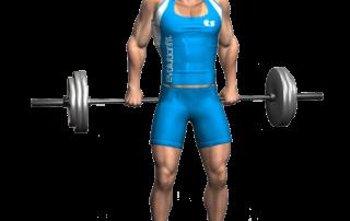 allenamento trapezi shrugs bilanciere dietro in piedi fine